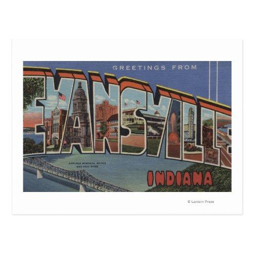 Evansville, Indiana - escenas grandes de la letra Tarjeta Postal