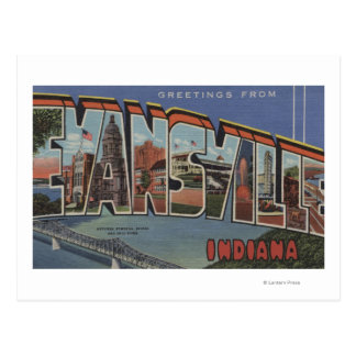 Evansville, Indiana - Large Letter Scenes Postcard