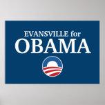EVANSVILLE para el personalizado de Obama su ciuda Posters