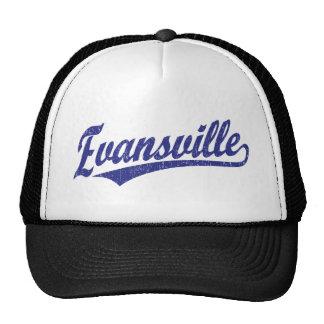 Evansville script logo in blue trucker hat