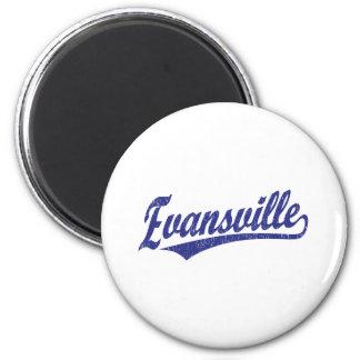 Evansville script logo in blue magnet