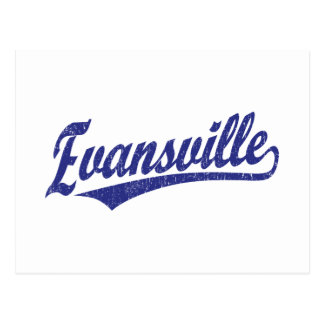 Evansville script logo in blue postcard