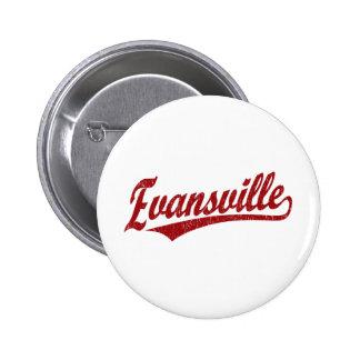 Evansville script logo  in red button