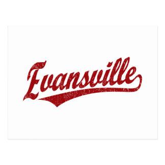 Evansville script logo  in red postcard