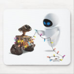 Eve and WALL-E with Christmas Lights Mouse Pads
