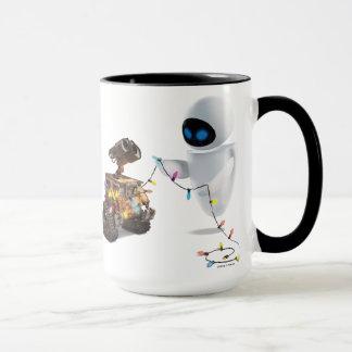 Eve and WALL-E with Christmas Lights Mug