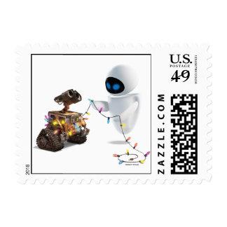 Eve and WALL-E with Christmas Lights Postage