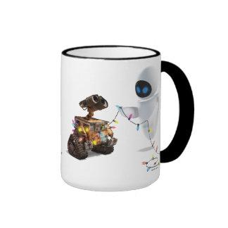 Eve and WALL-E with Christmas Lights Ringer Coffee Mug