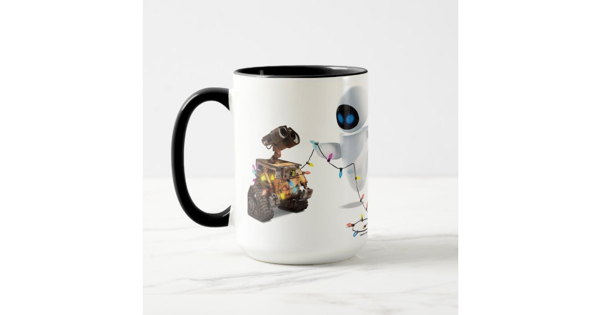Eve and WALL-E with Christmas Lights Ringer Mug Zazzle
