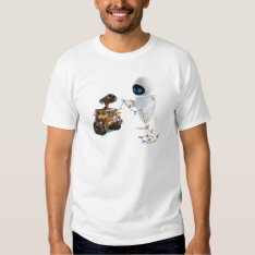 Eve and WALL-E with Christmas Lights Tshirts at Zazzle