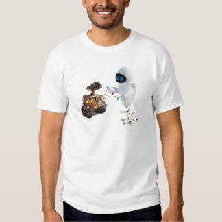Eve and WALL-E with Christmas Lights Tshirts