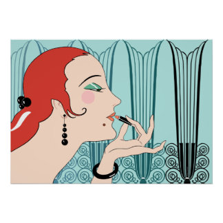 Eve, Art Deco Lady in Aqua and Teal Poster