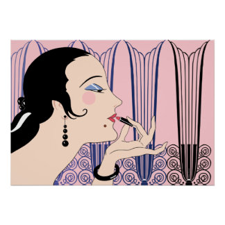 Eve, Art Deco Lady in Pink and Blue Poster