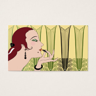 Eve, Art Deco Lady in Yellow and Olive Business Card