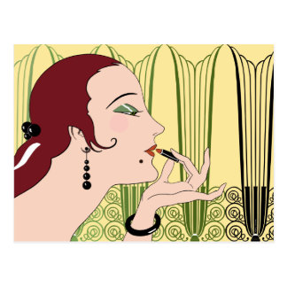 Eve, Art Deco Lady in Yellow and Olive Postcard