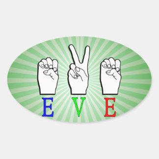 EVE ASL FINGERSPELLED NAME SIGN OVAL STICKER