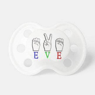 EVE ASL FINGERSPELLED NAME SIGN PACIFIER