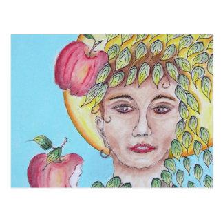 Eve con las manzanas postal