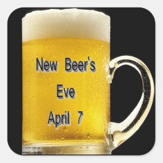 Eve de la nueva cerveza, el 7 de abril pegatina cuadrada