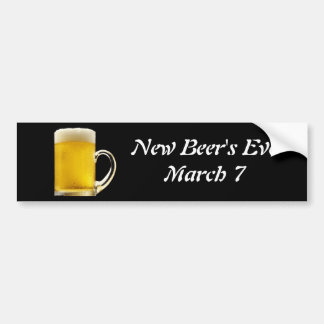 Eve de la nueva cerveza el 7 de marzo - pegatina etiqueta de parachoque