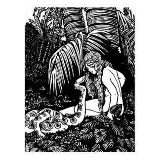 Eve en el jardín postales