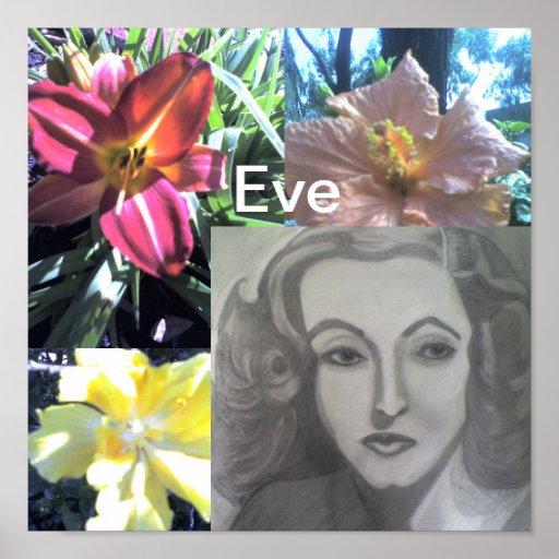 Eve en la impresión del jardín posters