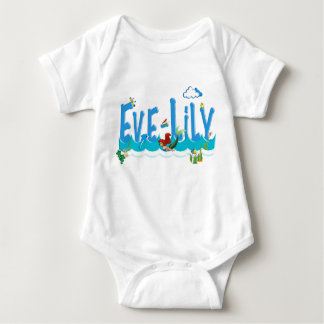 EVE-LILY /personalised name illustration Baby Bodysuit