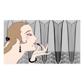 Eve, señora del art déco en gris y de color topo tarjetas de visita