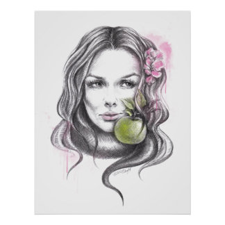 Eve Woman portrait with apple Poster print