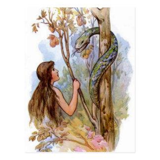 Eve y la serpiente tarjetas postales