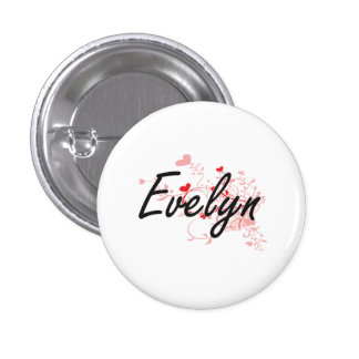 Evelyn Artistic Name Design with Hearts 1 Inch Round Button