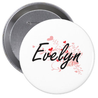 Evelyn Artistic Name Design with Hearts 4 Inch Round Button