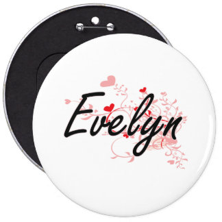 Evelyn Artistic Name Design with Hearts 6 Inch Round Button