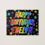 "[ Thumbnail: ""Evelyn"" First Name, Fun ""Happy Birthday"" Jigsaw Puzzle ]"