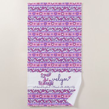 Beach Themed Evelyn name meaning flower heart pink beach towel