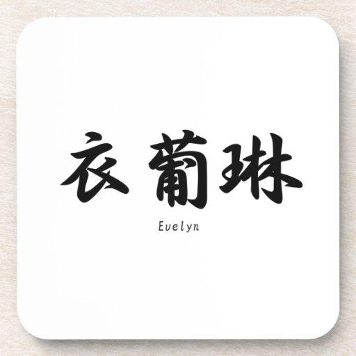 Evelyn translated into Japanese kanji symbols. Drink Coasters