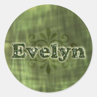 Evelyn verde pegatina redonda