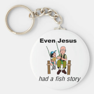 Even Jesus had a fish story Christian saying Keychain