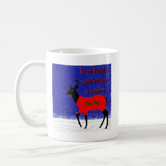 Even Rudolph gets holiday sweaters Coffee Mug