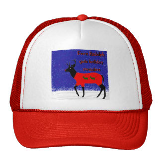Even Rudolph gets holiday sweaters Trucker Hat
