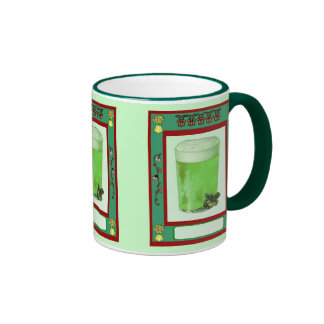 Even the beer is green on St Patrick's Day Ringer Coffee Mug
