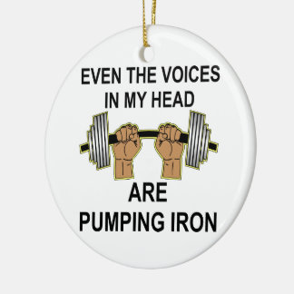 Even The Voices In My Head Are Pumping Iron Double-Sided Ceramic Round Christmas Ornament