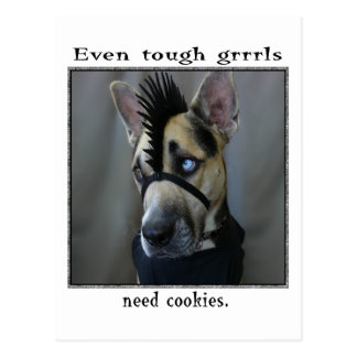 Even tough grrrls need cookies postcard