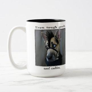 Even tough grrrls need cookies Two-Tone coffee mug