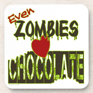 Even Zombies Heart Chocolate Cork-Backed Coasters