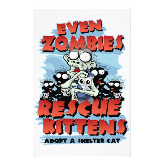 Even Zombies Rescue Kittens Custom Stationery