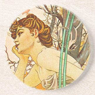 Evening, Alphonse Mucha Coaster