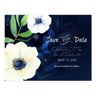 Evening Anemone Watercolor Save the Date Postcard