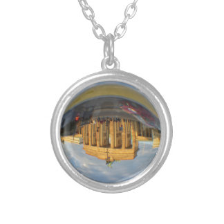 Evening at Brandenburg Gate, Berlin, crystal ball Silver Plated Necklace