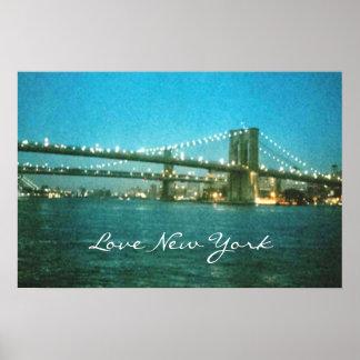 Evening at Brooklyn Bridge Poster